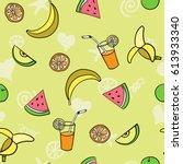 fruit summer seamless pattern... | Shutterstock .eps vector #613933340
