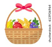 fruit basket icon  flat ... | Shutterstock .eps vector #613936964