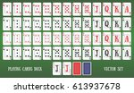 playing cards deck on green... | Shutterstock .eps vector #613937678