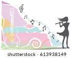 women musician playing a flute... | Shutterstock .eps vector #613938149