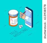 doctor's hand holding pill... | Shutterstock .eps vector #613938578