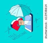 doctor's hand holding an... | Shutterstock .eps vector #613938614