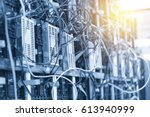 the electric wire behind the... | Shutterstock . vector #613940999
