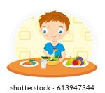 little boy eating vegetable at... | Shutterstock .eps vector #613947344