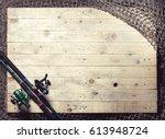 fishing nets and fishing rod... | Shutterstock . vector #613948724