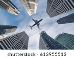 jet plane aircraft traveling in ... | Shutterstock . vector #613955513