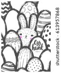 easter postcard with cute bunny ... | Shutterstock .eps vector #613957868
