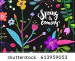 bright and colorful floral... | Shutterstock .eps vector #613959053