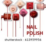 close up of nail polish flow on ...   Shutterstock .eps vector #613959956