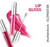pinkand red tube lip gloss with ... | Shutterstock .eps vector #613960538