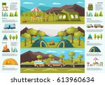 colorful traveling camping...   Shutterstock .eps vector #613960634