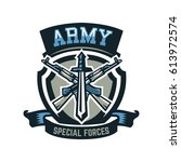 logo  emblem  military weapons  ... | Shutterstock .eps vector #613972574