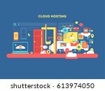 cloud hosting design | Shutterstock . vector #613974050