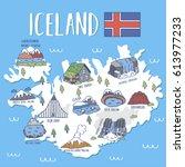 iceland travel map .vector... | Shutterstock .eps vector #613977233