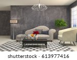 interior living room. 3d... | Shutterstock . vector #613977416