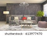 interior living room. 3d... | Shutterstock . vector #613977470