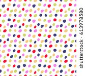 seamless pattern with polka dot.... | Shutterstock .eps vector #613978580