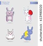 sticker set of cute rabbits ...   Shutterstock .eps vector #613980020