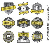 set badges mountain expeditions ... | Shutterstock .eps vector #613981574