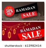 ramadan sale vector banner... | Shutterstock .eps vector #613982414