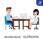 doctor measuring patient blood...   Shutterstock .eps vector #613982456