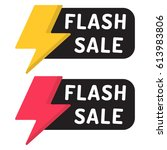 flash sale. badge with icon.... | Shutterstock .eps vector #613983806