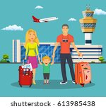 young family with children in... | Shutterstock .eps vector #613985438