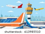 airport control tower and... | Shutterstock .eps vector #613985510