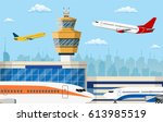 airport control tower and... | Shutterstock .eps vector #613985519