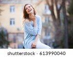 outdoors portrait of beautiful... | Shutterstock . vector #613990040