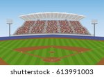 baseball field with crowd on... | Shutterstock .eps vector #613991003