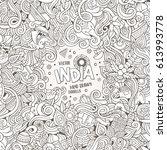 cartoon hand drawn doodles... | Shutterstock .eps vector #613993778