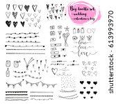 hand drawn doodle set about... | Shutterstock .eps vector #613993970