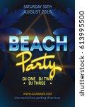 summer beach party poster... | Shutterstock .eps vector #613995500