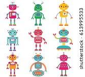robots  vector set of nine...   Shutterstock .eps vector #613995533