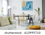new room with dining table ... | Shutterstock . vector #613995710
