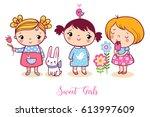 cute cartoon girls set.  vector ... | Shutterstock .eps vector #613997609