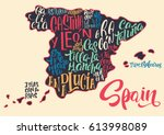 silhouette of the map of spain...   Shutterstock .eps vector #613998089