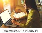 charming female blogger... | Shutterstock . vector #614000714