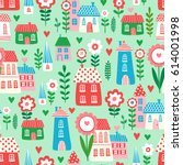 vector seamless pattern with... | Shutterstock .eps vector #614001998