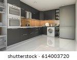3d rendering loft modern black... | Shutterstock . vector #614003720