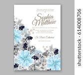 peony wedding invitation... | Shutterstock .eps vector #614008706