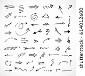 hand drawn arrows  vector set | Shutterstock .eps vector #614012600