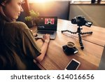 young woman looking at camera...   Shutterstock . vector #614016656
