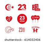 april 23 children's day vector...   Shutterstock .eps vector #614032406
