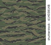 classic tiger stripe camouflage ... | Shutterstock .eps vector #614038148
