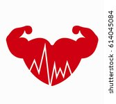 heart and muscles on hands icon ... | Shutterstock .eps vector #614045084