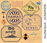 retro vintage postage stamps... | Shutterstock .eps vector #614049398