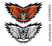 winged skull logo illustration... | Shutterstock .eps vector #614049824
