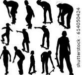 skateboarders collection... | Shutterstock .eps vector #614050424